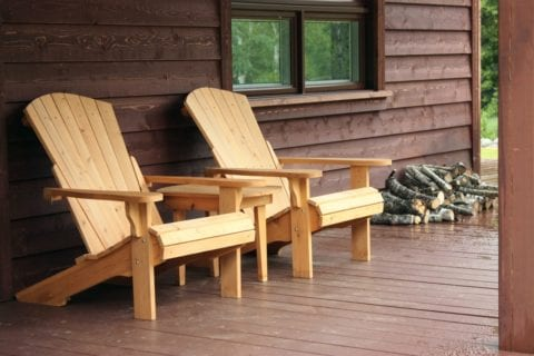 Wooden chairs on porch outside Gatlinburg cabin rental