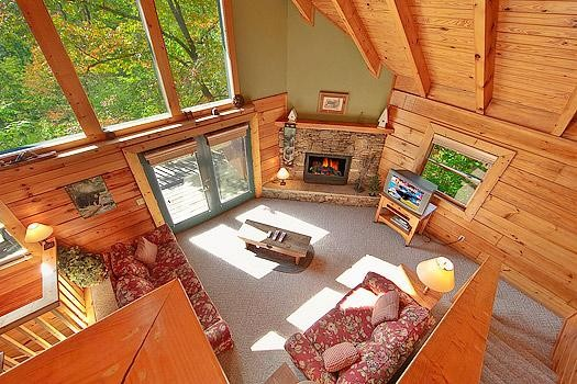 Aerial view of a living room in a Smoky Mountain cabin rental.