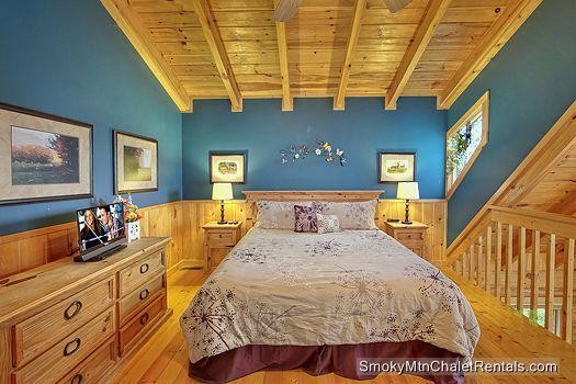 The bedroom in a Smoky Mountain cabin.
