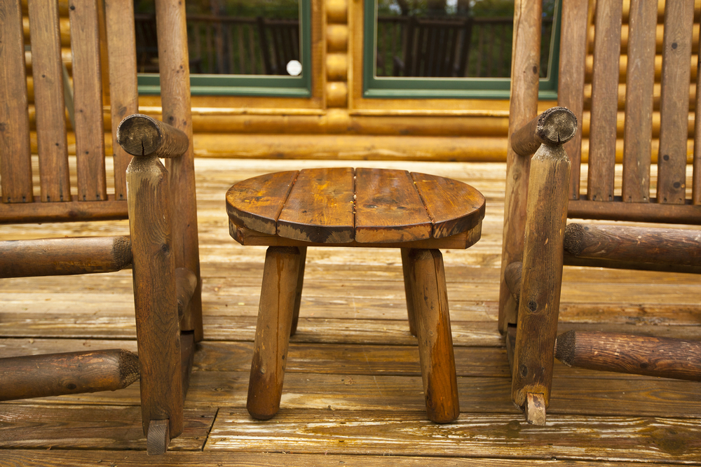 Chairs on a deck of a Smoky Mountain cabin