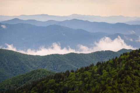 View of the fog over the Smoky Mountains