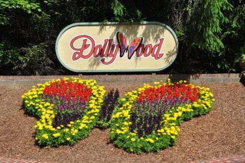 Flowers in the shape of a butterfly at the entrance to Dollywood.