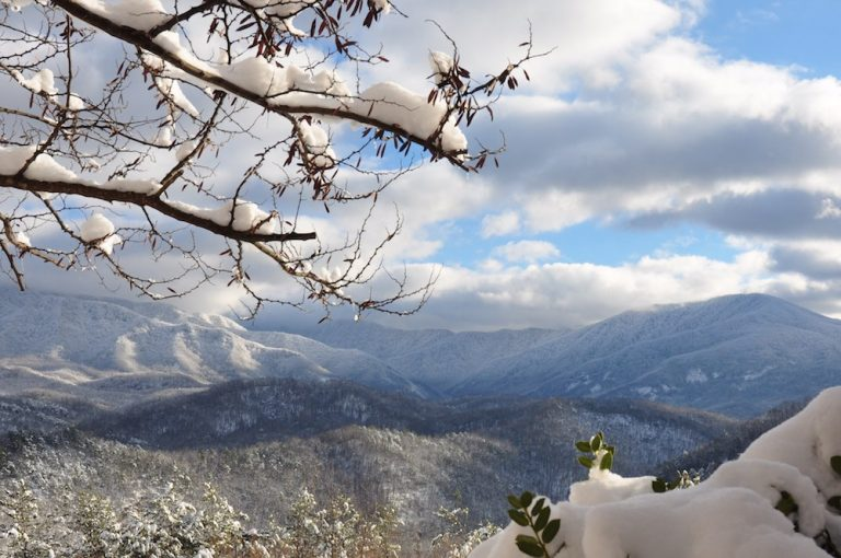 smoky mountains in winter covered in snow