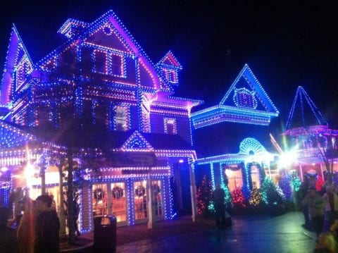 Christmas decorations at Dollywood in the Smoky Mountains.