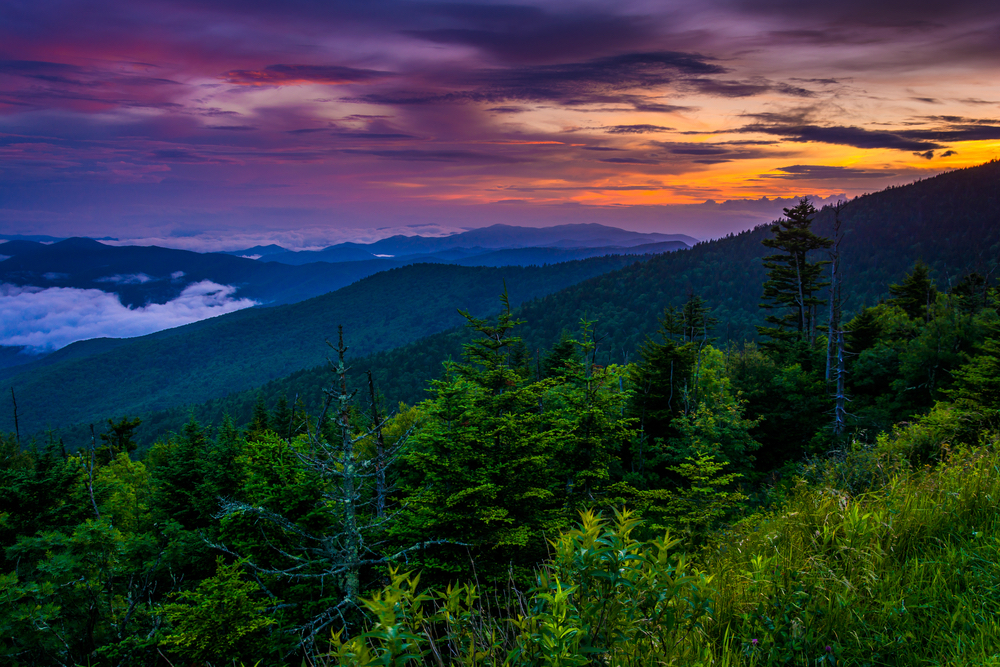 view of the smoky mountains at sunset