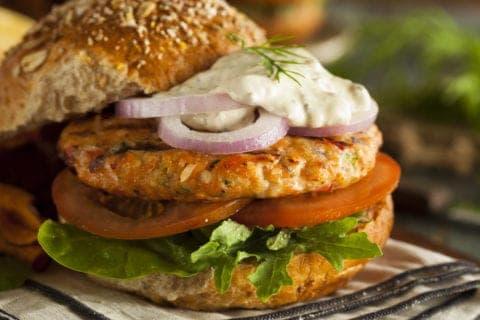 A tasty salmon burger.
