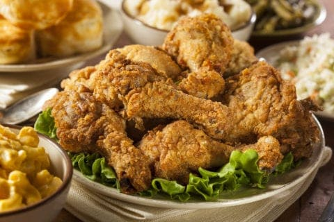 Fried chicken and Southern side dishes.
