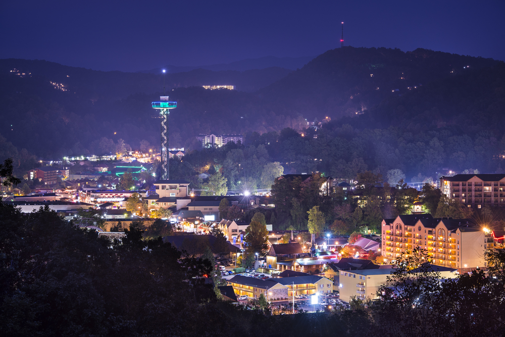 Gatlinburg city view at night