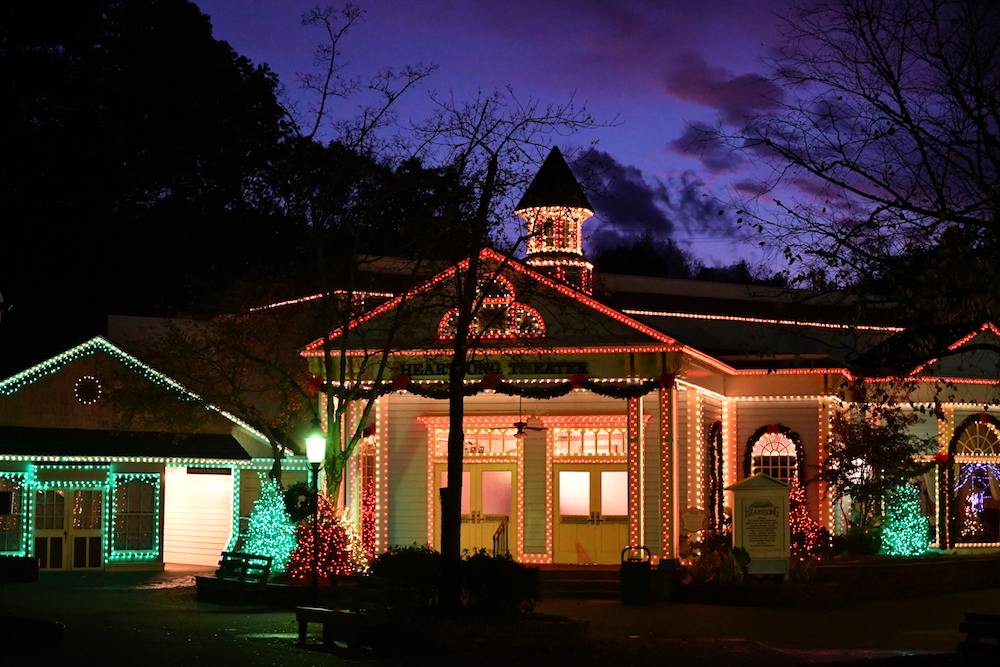Evening Christmas lights at Dollywood's Smoky Mountain Christmas in Pigeon Forge
