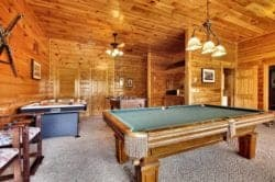 game room in a cabin