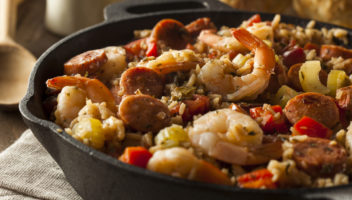 jambalaya with shrimp, sausage, and chicken