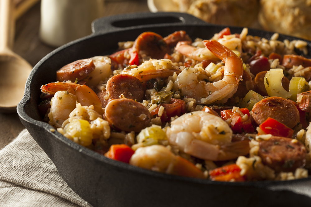 jambalaya with shrimp, sausage, and chicken
